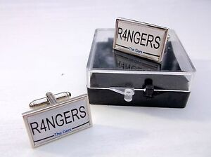 Rangers-plaque-d-039-immatriculation-style-BADGE-Hommes-Boutons-de-Manchette-Cadeau