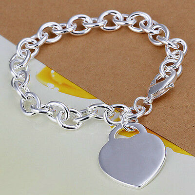 XMAS wholesale sterling solid sliver with heart chain bracelet SB965 + box