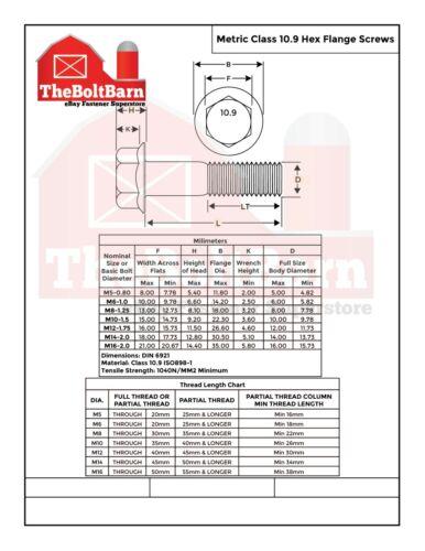 200 PCS M5-.8x25 MM Metric Hex Flange Bolts Grade 10.9 Screws Phos /& Oil