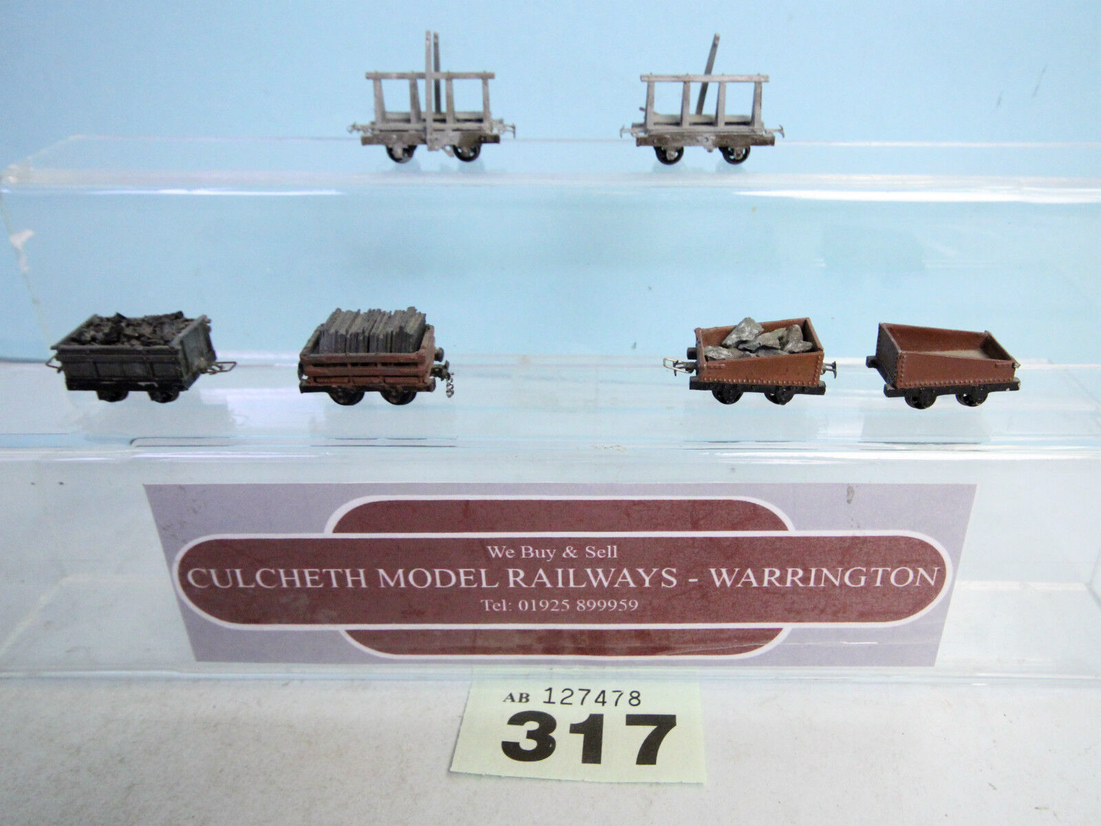 KIT BUILT 'HOe/009' LOT OF 6X QUARRY/SLATE WAGONS KIT/CUSTOM FINISH  317