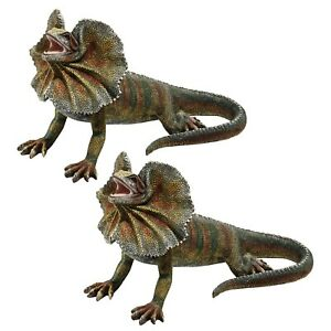 design toscano frillnecked lizard statues set of two