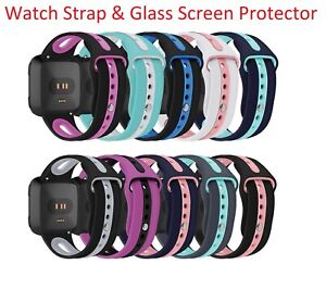 For Fitbit Versa Replacement Silicone Two Tone Strap & Glass Screen Protector
