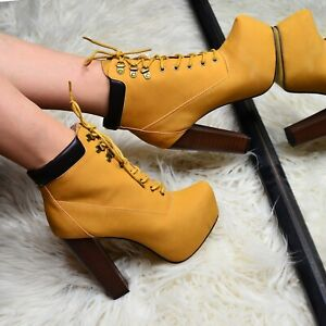 superior quality autumn shoes free shipping Ladies TAN High Block Heel Ankle boots Lace Up Military Booties ...