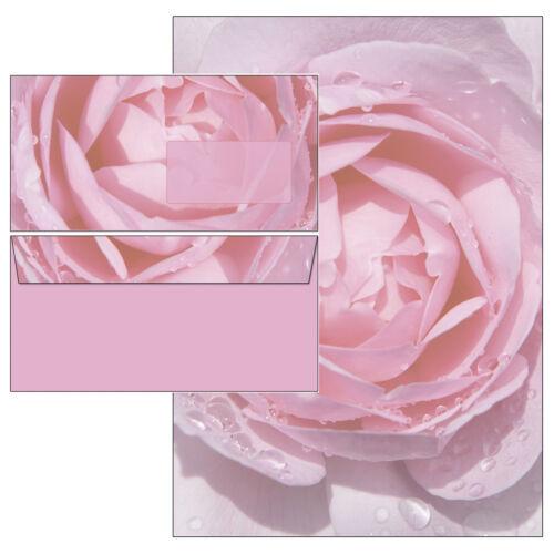 rosa Rose Regentropfen Set Motivpapier Briefpapier 50 Blatt A4 50 Umschläge