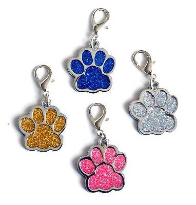 Bene Personalizzato Inciso Glitter Paw Print Tag Cane Gatto Pet Id Tag Riflettente Uk-mostra Il Titolo Originale Lasciamo Che Le Nostre Merci Vadano Al Mondo