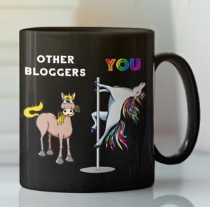 Blog tea cup horse mug Details about  /Funny Blogger rainbow Unicorn pole dancing coffee mug