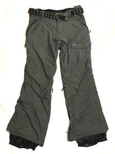 Empyre Ropa L Grande Para Hombres Pantalones De Esquí Impermeable Bolsillos Con Cinturón Gris Forrado Ebay