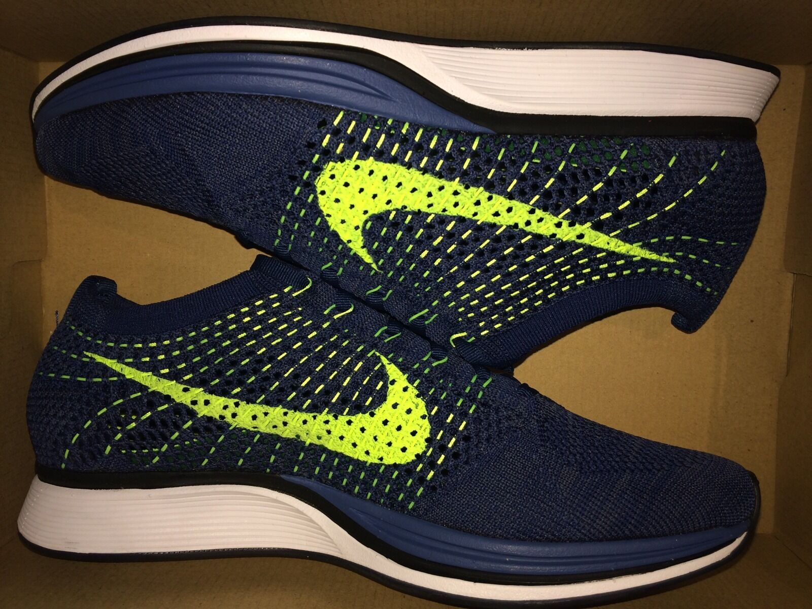 DS New Nike Flyknit Racer One 1 Brave bluee Squadron Volt US Mens Sz 8 526628 407