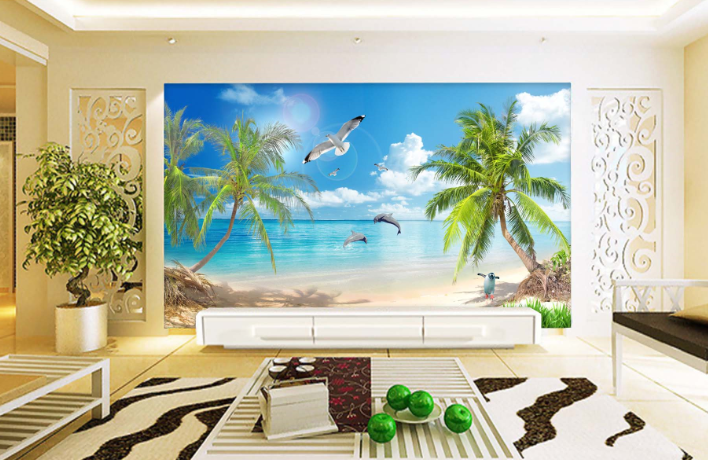 3D Seagulls Beach Coulds 88 Paper Wall Print Wall Decal Wall Deco Indoor Murals