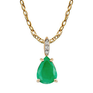 10k-Yellow-Gold-Genuine-Pear-Shape-Emerald-and-Diamond-Teardrop-Pendant-Necklace