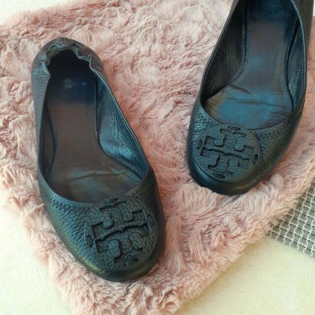 Tory Burch Reva Rare Tonal Logo Ballet Flats 6.5 Tumbled Leather Blogger Fave