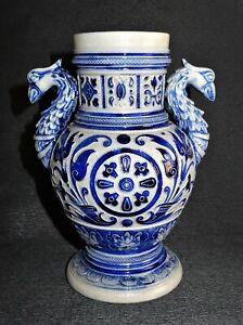 Antique-Westerwald-German-stoneware-blue-vase-zoomorphe-19eme