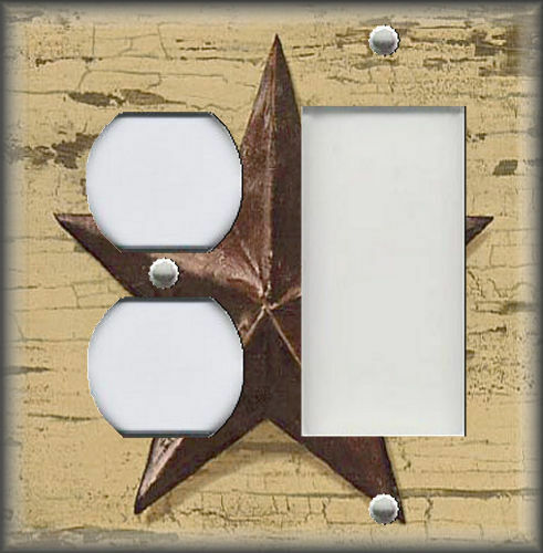 Metal Light Switch Plate Cover Country Farmhouse Decor Aged Barn Star Decor