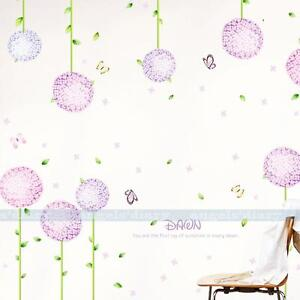 Purple Flower Ball Wall Sticker Removable Wallpaper Girl Baby 39 S Room DIY