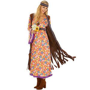 Disco Hippie Blumen Kostum Frauen Karneval Fasching Halloween 70er