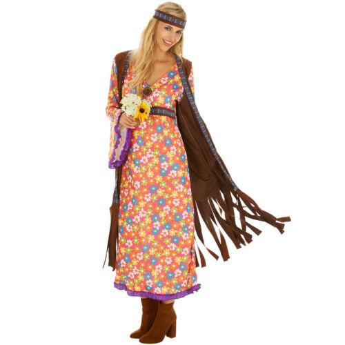 Disco Hippie Blumen Kostüm Frauen Karneval Fasching Halloween 70er Haarband
