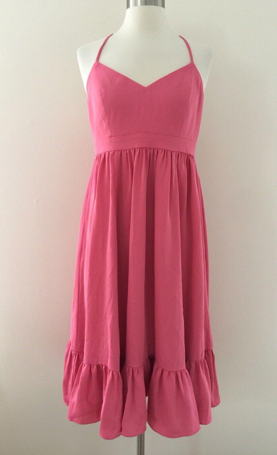 New J Crew Drapery Spaghetti-strap Dress Sz 8 Bright Rosa G2885 Fall '17