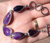 Gel Sugilite Bracelet 25.2 Grams Sterling Silver Wessels Mine