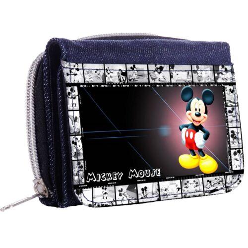 MICKEY MOUSE New Denim Tri-Fold Half Wallet w// ID Window Button