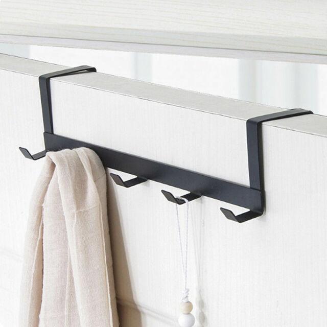 Over-The-Door Hook Rack Metal 5 Hooks Hanger Storage Holder Coats Hats B6N3