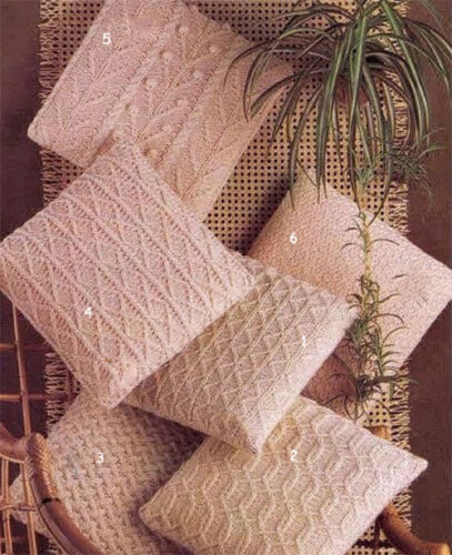 knitting pattern only Aran wool 6 Lovely aran style cushions cushions 14/""