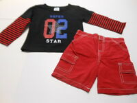 Boys Super Star Outfit Toddler Boys Clothes Boys Shorts Boys T-shirts 2 Pc 24mos