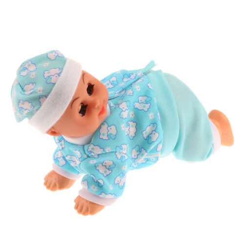 Lifelike Baby Doll Crawling Girl Doll Cry Laugh Sing Nurturing Doll Toy Blue