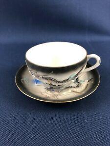 Dragon Ware porcelain cup & saucer Moriage Japan Lithophane 1930s - 1960s