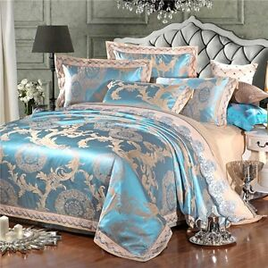 Luxury 4pc Jacquard King Blue Embroidered Tribute Silk