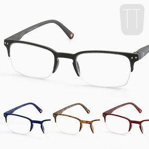 New-Semi-Rimless-READING-GLASSES-amp-POUCH-Black-Blue-amp-Red-1-0-1-5-2-2-5-3-0