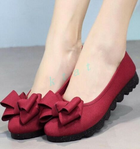 Chic Womens Sweet Faux Suede Flat Heels Round Toe Bowknot Causal Shoes Slip On