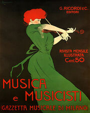 MUSIC MUSICIANS WOMAN PLAYING VIOLIN ITALY 8X10 VINTAGE POSTER REPRO FREE S/H