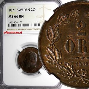 SWEDEN-Carl-XV-Adolf-Bronze-1871-2-ORE-NGC-MS66-BN-TOP-GRADED-BY-NGC-KM-706