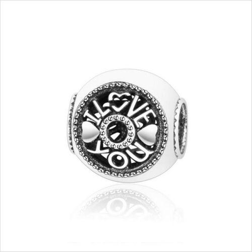 European 925 Silver CZ LOVE Charm Beads Pendant Fit Bracelet Necklace Chain