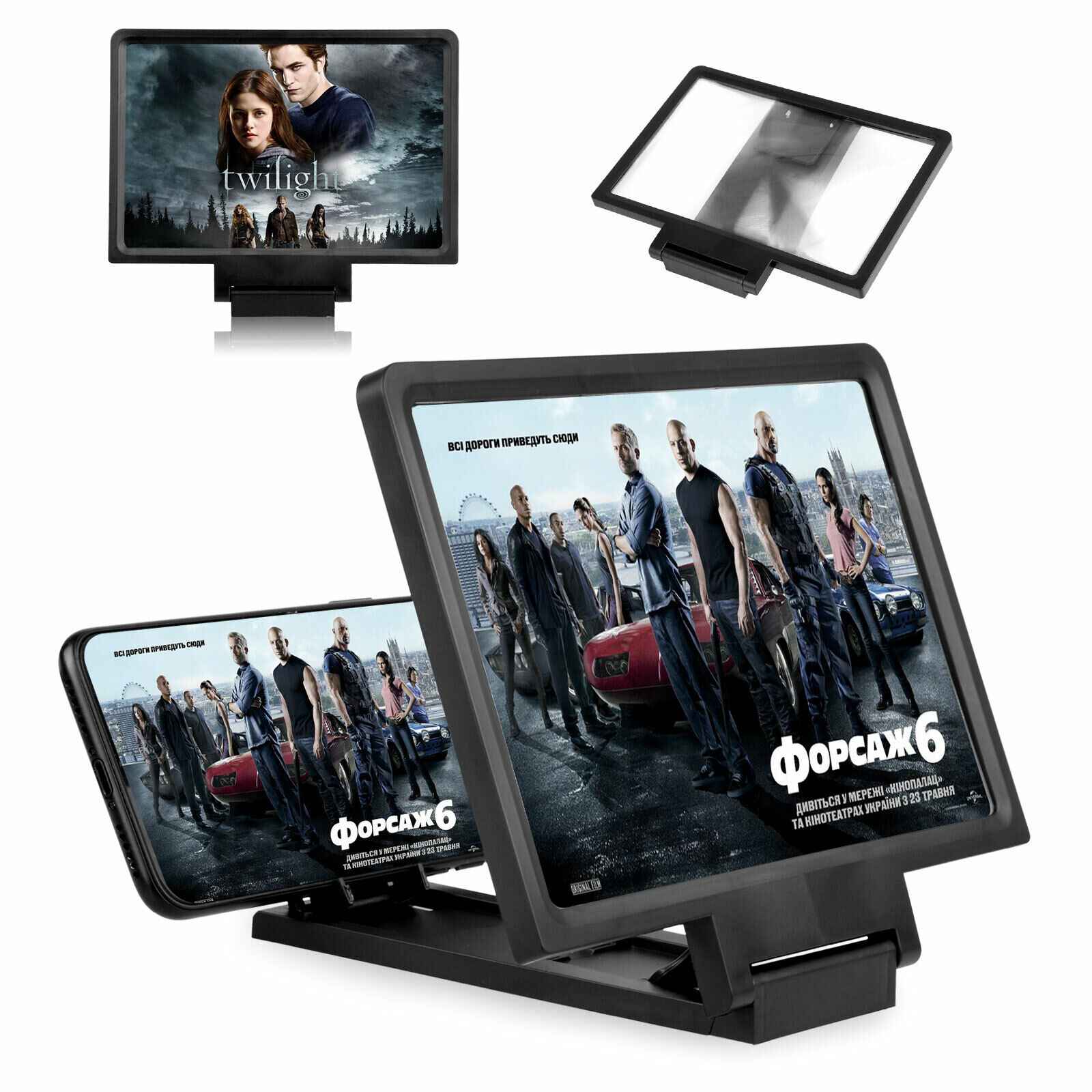 Gfbyq HD Mobile Phone Screen Amplifier Color : D Watching Film Projection Artifact Watching Movie Portable Lazy Desktop Stand