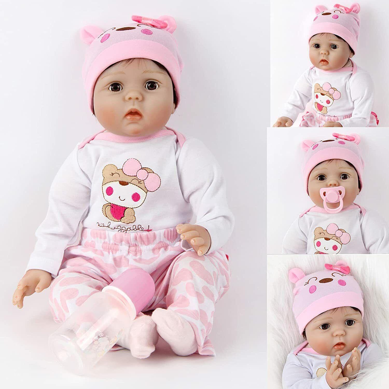 "22"" Lifelike Dolls Baby Realistic Girl Vinyl Handmade Newborn Doll Gift"