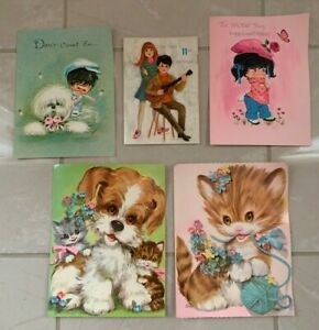 Vintage-Birthday-Cards-used-50-years-old-lot-of-5-1970