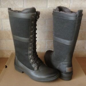 31260b51485 Details about UGG ELVIA SLATE WATERPROOF LEATHER WOOL RAIN SNOW TALL BOOTS  SIZE 8.5 WOMENS