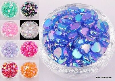 60pcs AB Color Heart Shaped Acrylic Spacer Beads for Craft/Diy  9mm