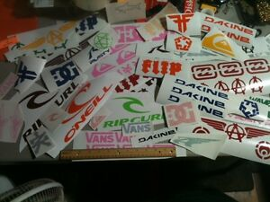 Lot-of-OVER-36-surf-skate-and-popular-decal-collection-stickers-vans-DC-etc