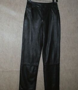 021e3b4583e6c3 Linda Allard Ellen Tracy Leather Pants Dark Brown Size 8 Straight ...