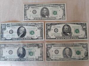 1969 A Series 5 100 Dollar Bill Set D Cleveland Federal