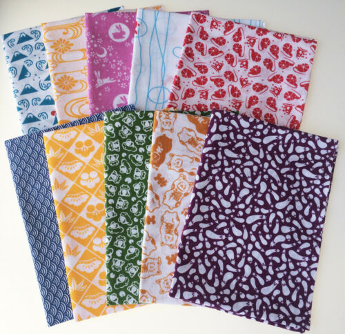 Tenugui towel 10 pcs LOT small pattern set cotton 100/% Made in Japan