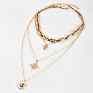Women-039-s-Choker-Multi-layered-Chain-4Pcs-Set-Evil-Shell-Necklace-eye-Boho-Fashion