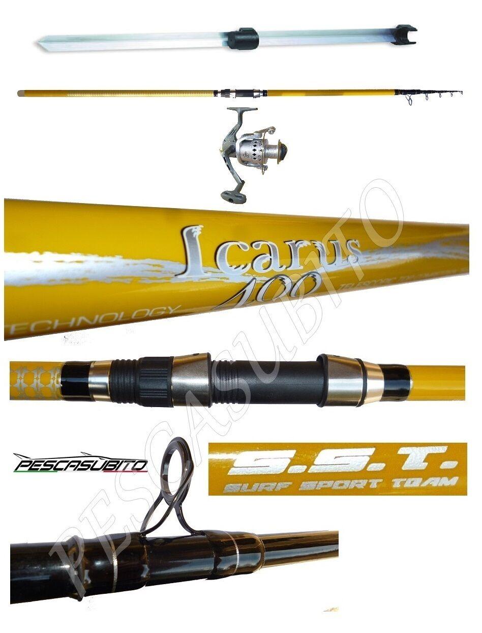 Kit canna icarus 4m 120g  mulinello tebe  puntale pesca beach ledgering mare