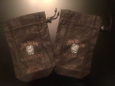 Jim Bean Signature Leather Pouch Master Distiller Series Fred Noe Lot of 2