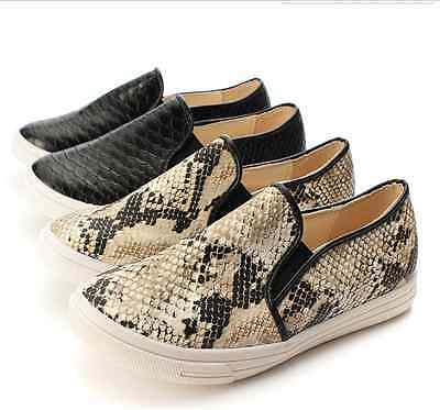 Cool Lady Women Python Slip On Sneakers Snake Skin Flat Loafer Trainers Karma