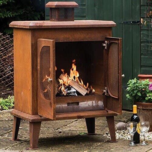 Garden Fire Pit Rustic Heater Fireplace House Steel Outdoor Patio Wood Burner