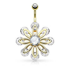 14G Belly Button Ring Jeweled Flower Dangle Belly Navel Body Piercing Jewelry