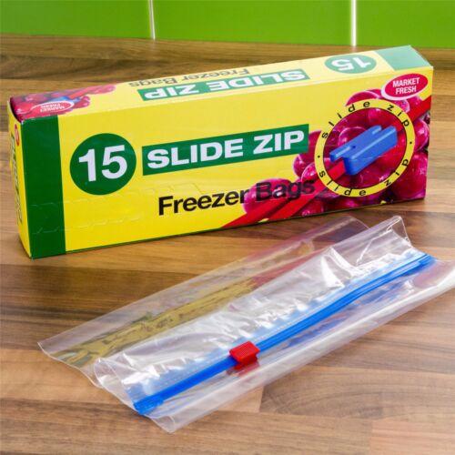 REUSABLE CLEAR//WRITE ON FREEZER FOOD BAGS Zip Lock Tie Handle Multi Size Kitchen